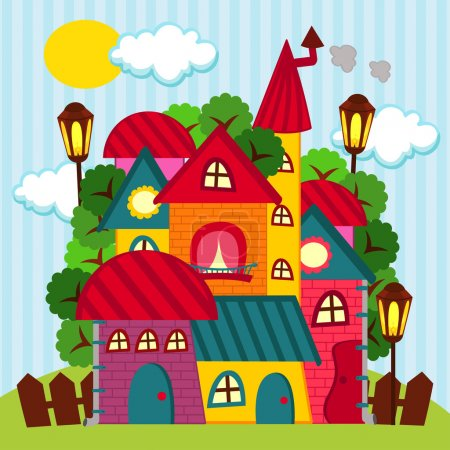 Illustration for Suburbs and houses - vector illustration - Royalty Free Image