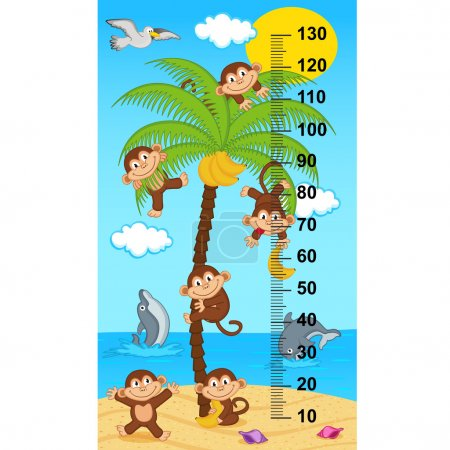 palm tree height measure with monkeys - vector illustration, eps
