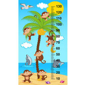 palm tree height measure with monkeys - vector illustration eps