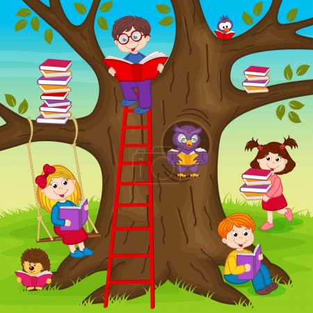 children are reading books on a tree