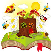 Open book with house stump and insects - vector illustration eps
