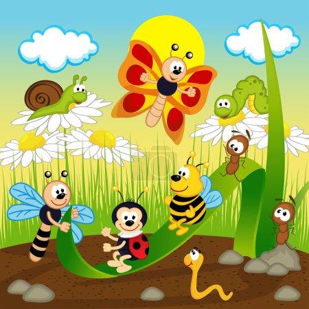 Illustration pour Insectes montent sur la feuille illustration vectorielle, eps - image libre de droit