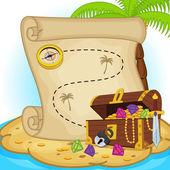 treasure map and treasure chest on island
