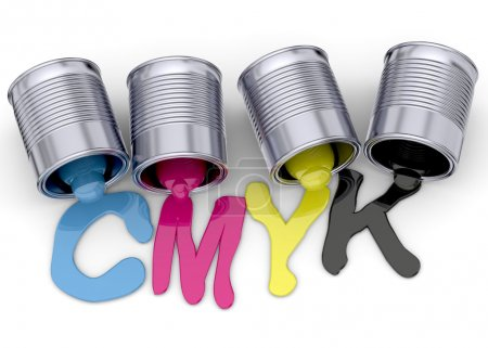 Photo for Cans and cmyk colors on white background - Royalty Free Image