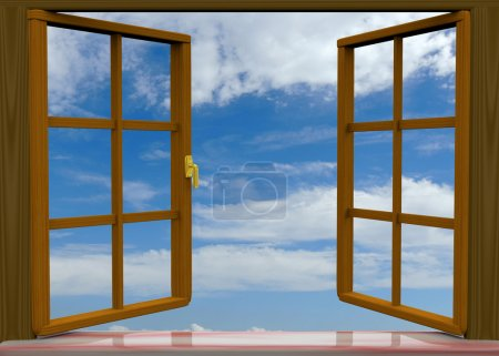 Photo for Open window on white background - Royalty Free Image