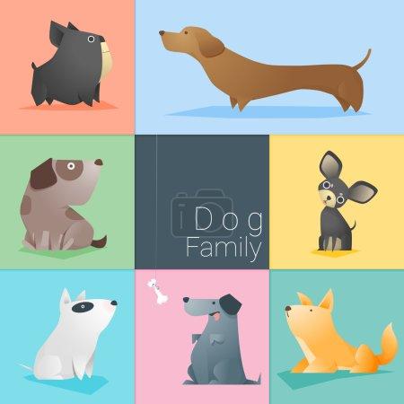 Illustration for Set of dog family , vector , illustration - Royalty Free Image