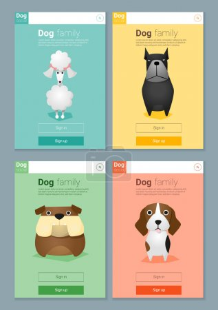 Animal banner with Dogs for web design , vector, illustration
