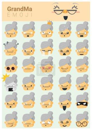 Illustration for Grandma imoji icons , vector, illustration - Royalty Free Image