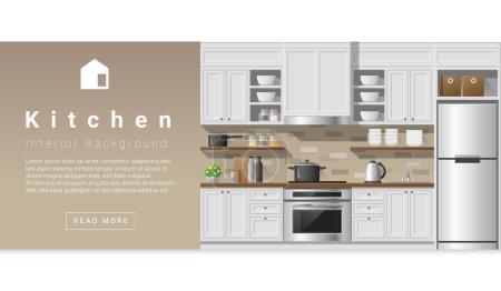 Illustration for Interior design Modern kitchen background , vector, illustration - Royalty Free Image