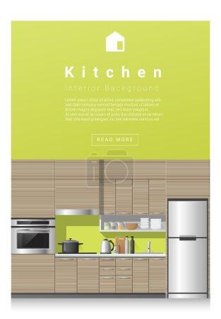 Illustration pour Design d'intérieur Bannière de cuisine moderne, vecteur, illustration - image libre de droit
