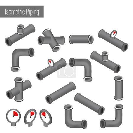 Illustration pour Illustration isométrique plate vectorielle 3D collection de pièces de construction détaillées : tuyaux, raccords, vanne, robinet, puits . - image libre de droit