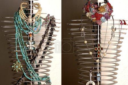Expensive bijouterie on steel mannequins