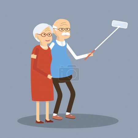 Old Couple Doing Selfie