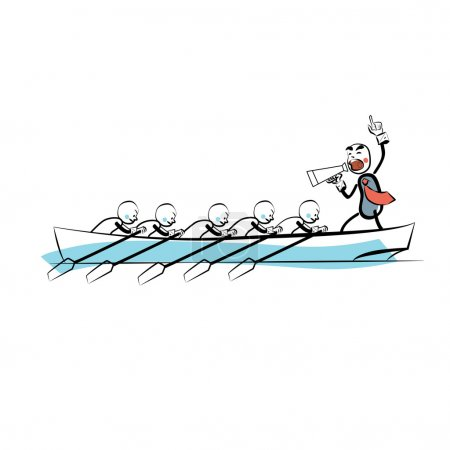 Leader teamwork business concept boat rowers
