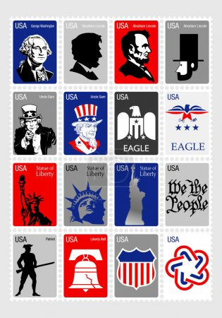 USA Symbols - Set icons framed stamps