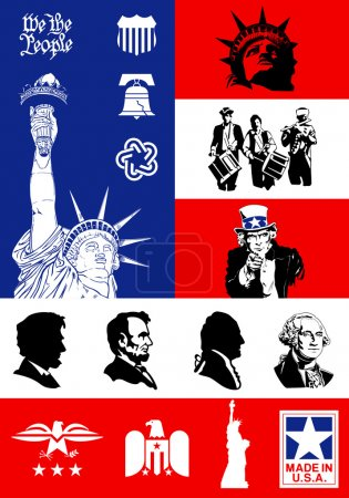USA Symbols - Icon set with flag background