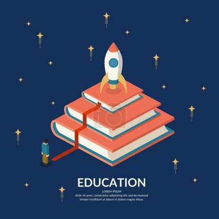 Illustration for Education Infographics. Conceptual vector illustration on the theme of training and further education. - Royalty Free Image