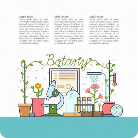 Illustration for On the background of the teaching of botany. Botanical table and the devices for lessons, modern vector illustration. - Royalty Free Image