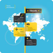 Travel infographics Buy air ticketsVector illustration Poster for sale of trips and tours