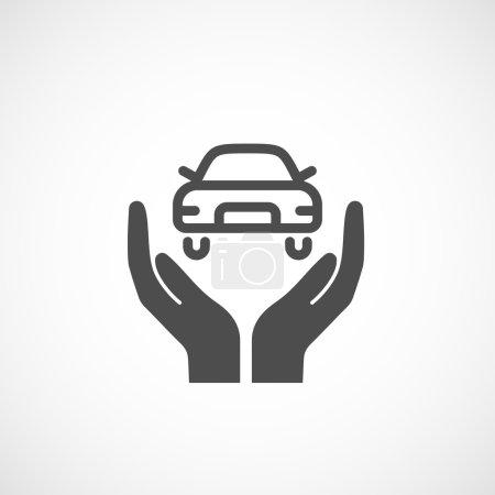 Illustration pour Icône assurance auto. Signe de silhouette, illustration vectorielle . - image libre de droit