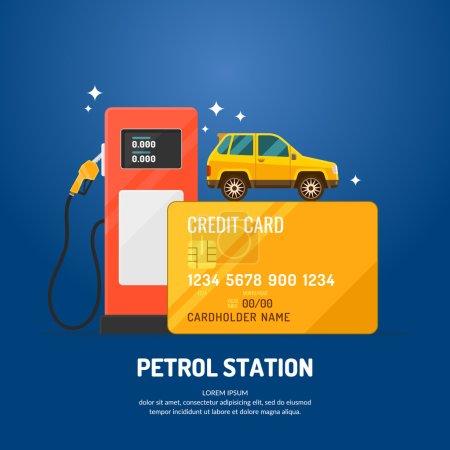 Illustration pour Affiche publicitaire lumineuse sur le thème de la station-service. Achetez du carburant avec une carte de crédit. Illustration vectorielle . - image libre de droit