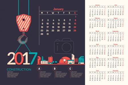 Kalender 2017. Vektorabbildung.
