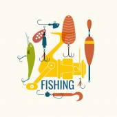 Fishing Icons and illustrations for design Vector elements