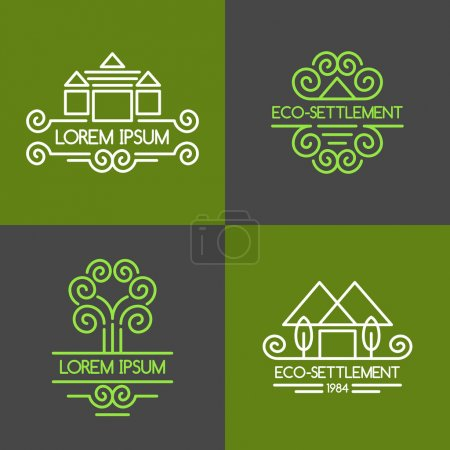 Illustration for Eco-settlement. Logos and design elements - Royalty Free Image