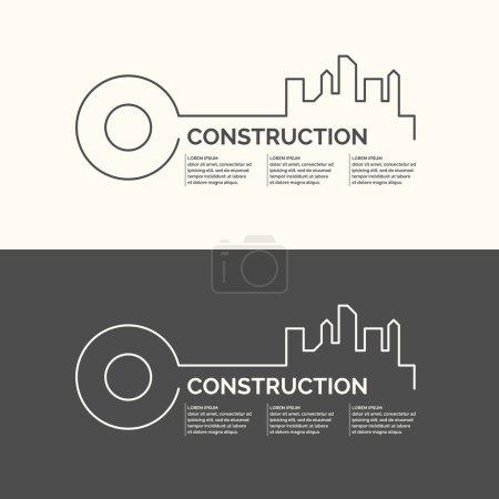 Illustration pour Construction de maisons. Éléments de conception web, illustration, affiche et carte. - image libre de droit