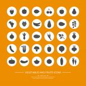 30 silhouette icons of vegetables and fruits