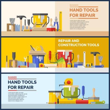 Illustration pour Outils pour la rénovation et la construction de maisons. Outils dans un style lumineux et plat . - image libre de droit