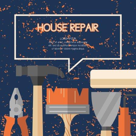 Illustration pour Outils à main pour la rénovation et la construction de maisons. Outils dans un style lumineux et plat. Une affiche colorée, illustration vectorielle . - image libre de droit