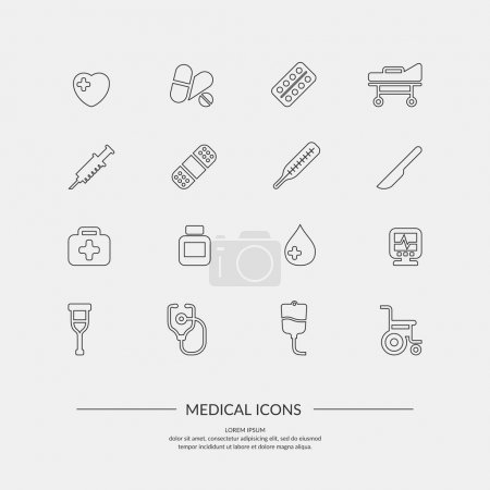 Illustration for Medical icons. Elements and icons for cards, illustration, poster and web design. - Royalty Free Image