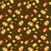 Beautiful seamless pattern with fruits and jars vector illustration
