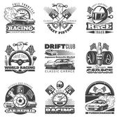 Set of car racing black monochrome emblems labels logos and championship race badges with descriptions of classic garage drift club world racing isolated vector illustration