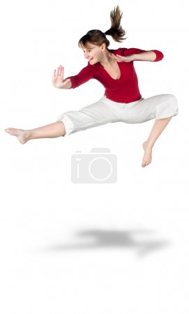 beautiful girl with glasses jump isolated on white