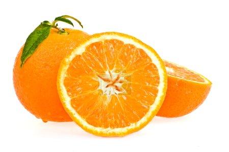 Photo for Ripe tasty orange with leaf isolated on white - Royalty Free Image
