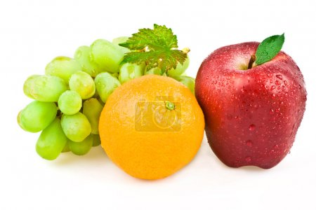 Ripe tasry grape orange and apple composition set isolated on white
