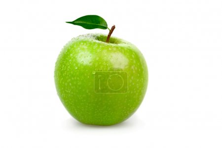 ripe tasty green apple with leaf isolated on white