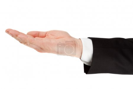 businessman hand palm isolated on white