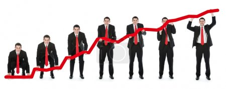 Photo for Businessman help increase financial chart isolated on white - Royalty Free Image