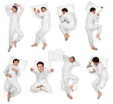 Photo for Beautiful young man sleep pose composition set isolated on white - Royalty Free Image
