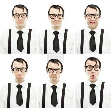 Photo pour Drôle nerd avec des lunettes et cravate composition d'expression mis isolé sur blanc - image libre de droit