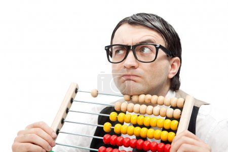 funny nerd man with an abacus isolated on white