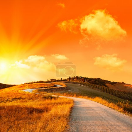 wonderful italy tuscany hill at sunrise or sunset road scenic
