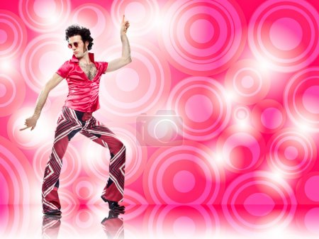 1970s vintage man dance with pink background