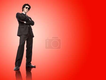 mafia boss man with black suit isolated on different colours