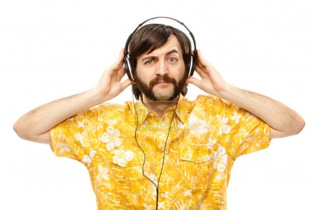 1970s vintage show man sing with hawaiian shirt and headphones isolated on white