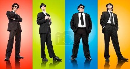 four mafia boss man with black suit isolated on different colours