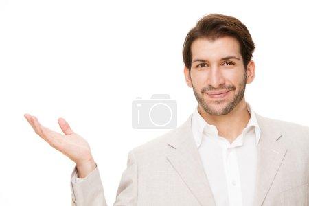 european caucasian brunette happy business man portrait isolated on white